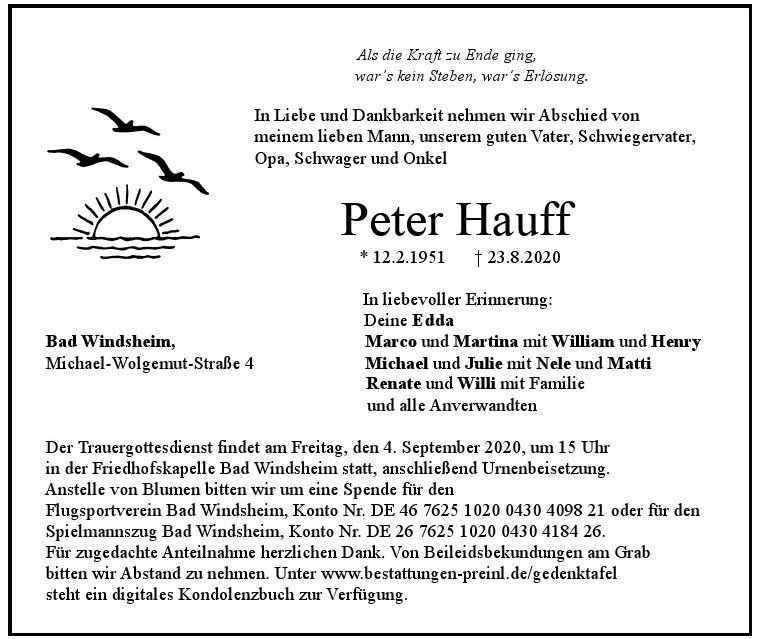 Peter Hauff, September 2020